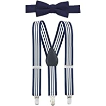 "Hold'Em Suspender and Bow Tie Set for Kids, Boys, and Baby - Proudly Made in USA - Extra Sturdy Polished Silver Metal Clips, Pre tied Bow Tie, 1"" Inch Suspender Perfect for Tuxedo"
