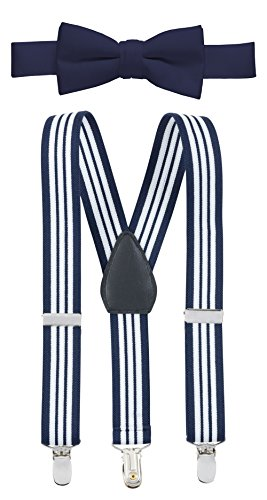 Hold'Em Suspender and Bow Tie Set for Kids, Boys, and Baby - Proudly Made in USA - Extra Sturdy Polished Silver Metal Clips, Pre tied Bow Tie-Navy Striped (Old Fashioned Girl Dresses)