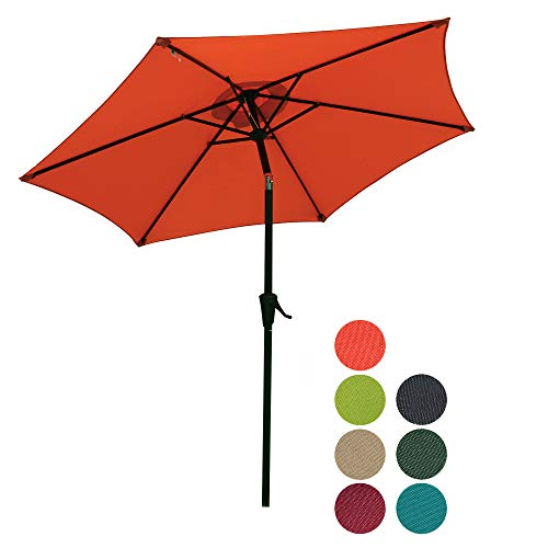 PATIOROMA 7.5 Feet Outdoor Patio Umbrella with Push-Button Tilt and Crank, 6 Ribs, Polyester Canopy, Orange