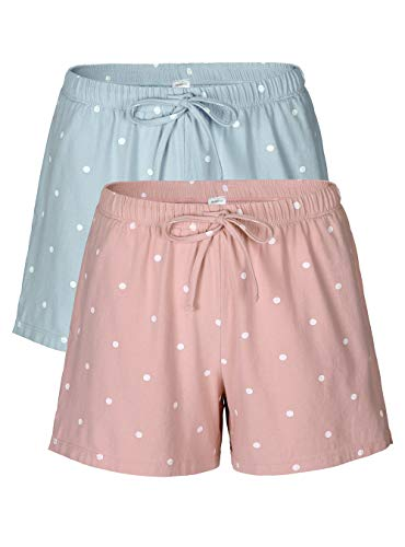 Femofit Pajama Shorts for Women 2 Pack Sleep Shorts for Women Lounge Shorts Women Sleep Shorts S~XL (Moonlight Blue Dot+Baby Pink Dot, - Boxer Sleep Shorts