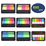 Page Markers 8 Sets, OUHL Neon Pop-up Index Tabs Colored Flags Sticky Notes Assorted Colors for Bookmarks Notebook Reading Tags Memo (600 Pieces)