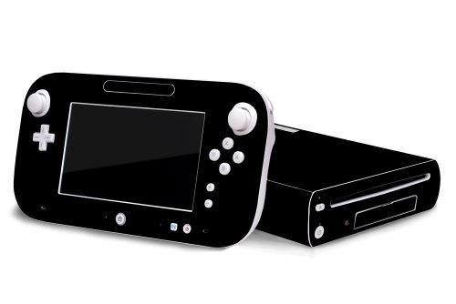Matte Black Vinyl Decal Faceplate Mod Skin Kit for Nintendo Wii U Console by System Skins