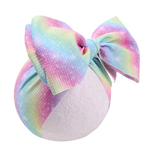 YanJie Baby Soft Rainbow Large Bows Headwrap Stretch Textured Fabric Top Knot Turban Headband Hair Accessories (YH10) ()