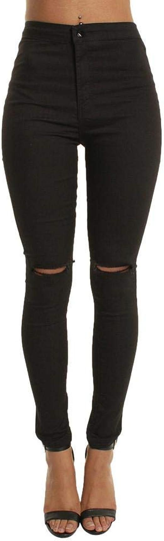 HX fashion 女性のスキニージーンズパンツエレガントパンツハイウエスト無地長さ破れたジーンズファッション穴スリムレギンス鉛筆スリムフィットズボンパンツ