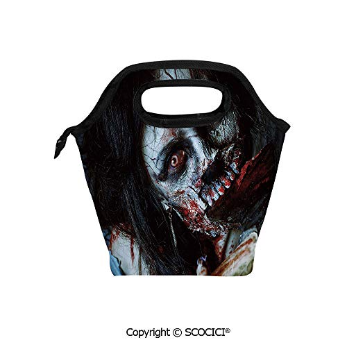 Lightweight Portable Picnic tote lunch Bags Scary Dead Woman with Bloody Axe Evil Fantasy Gothic Mystery Halloween Picture lunch bag for Employee student Worker. -