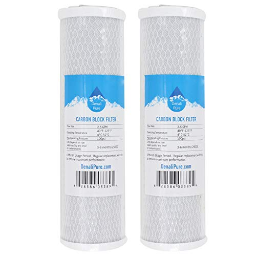 2-Pack Replacement for Compatible with American Plumber WLCS-1000 Activated Carbon Block Filter - Universal 10 inch Filter Compatible with American Plumber Undersink Drinking Water System