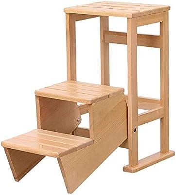 Chair Escalera de Madera sólida multifunción para sillas de Cocina casera de Doble Uso Plegable Escaleras Presidente movibles 3 Pasos Escala Ascendente de heces,Beige: Amazon.es: Hogar
