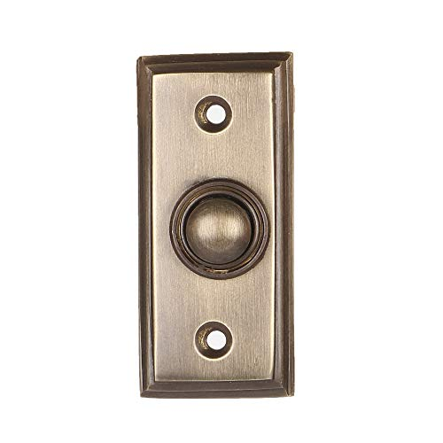 Wired Brass Doorbell Chime Push Button in Antique Brass Finish Vintage Decorative Door Bell with Easy Installation ()
