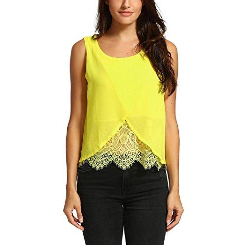 Odeer Women Chiffon Lace Vest Top Sleeveless Casual Tank Blouse Summer Tops T-Shirt (XL, Yellow)