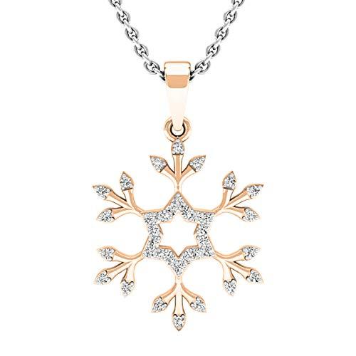 Dazzlingrock Collection 0.15 Carat (ctw) 10K Round White Diamond Snowflake Ladies Pendant (with Silver Chain), Rose Gold