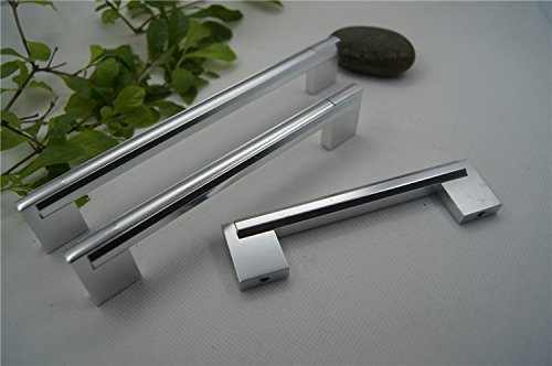 KFZ Aluminum Alloy Door Handles for Furniture Cabinet Drawer Pull Knobs Shoe Wardrobe HAO-8032 Furniture Cabinet Hardware (5,3.78'' Hole Center-Sliver)