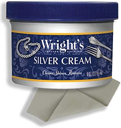 Wright's Silver Cleaner and Polish Cream - 8 Ounce with Polishing Cloth - Ammonia-Free - Gently Clean and Remove Tarnish without Scratching