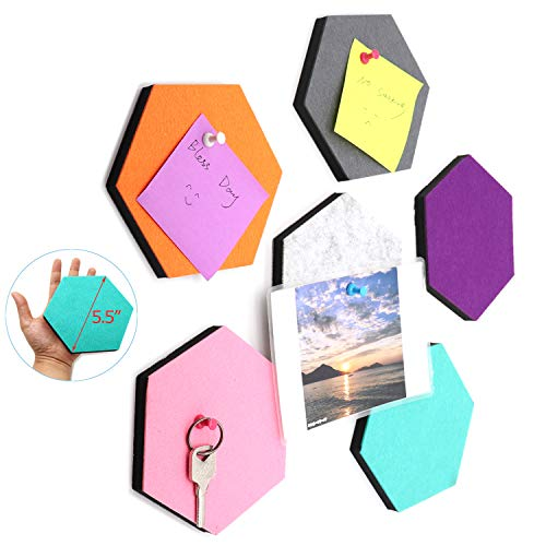 Ekatoo Set of 6 Hexagon Felt Pin Board Self Adhesive Bulletin Memo Photo Boards Colorful Foam Wall Decorative Tiles with 6 Pushpins - 5.5 x 5 x 0.5 -