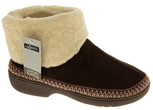 Slipper Boot 5 Sole Outdoor 6 Slippers Warm Size 7 New 4 Brown Ladies 3 Dark Lined Boots 8 F8xXq