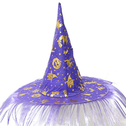 Yezijin Halloween Hats, Adult Womens Mens Witch Hat for Halloween Costume Accessory Fluff Solid Cap (Purple) -