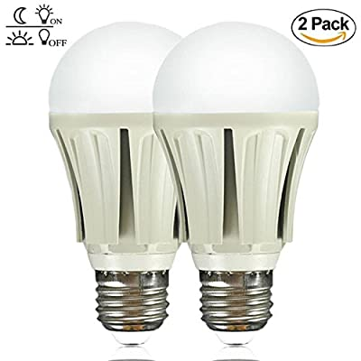 Dusk to Dawn Light Sensor Bulb,ProPOW A19 Smart Light Bulbs 9W LED Bulbs Automatic on/Off Indoor/Outdoor Lighting Lamp for Porch Garage Driveway Yard Hallway Patio(E26 White 2-Pack)