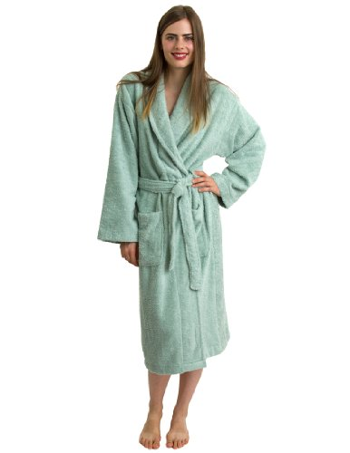 TowelSelections Turkish Terry Bathrobe - 100% Egyptian Cotton, Shawl Collar Terry Robe for Women and Men, Made in Turkey, Rain L/XL