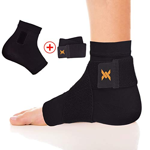 Thx4 Copper Compression Recovery Adjustable Foot Sleeves for Men & Women, Copper Infused Ankle Brace Socks for Arch Pain, Reduce Swelling & Heel Spurs, Ankle Sleeve with Arch Support …