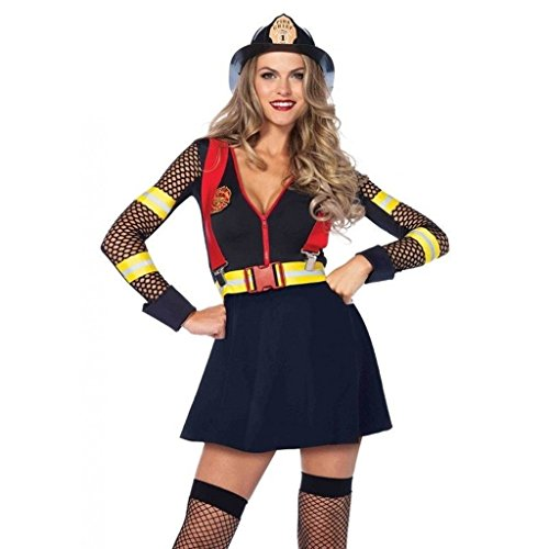Women's Sexy Red Hot Fire Fighter Captain Adult Halloween Costume -
