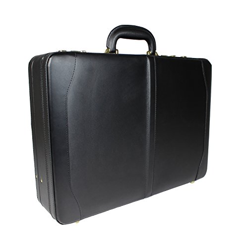 Executive Briefcase - World Traveler Avenues Executive Leather Expandable Attache Briefcase, Black, One Size