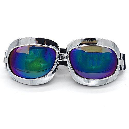 Evomosa Motorcycle Goggles Retro Vintage Motocross Off-Road ATV Pilot Goggle Eyewear Sports Glasses Snowboard Ski Bikes Helmet Goggles (Silver, Blue) by Evomosa (Image #5)