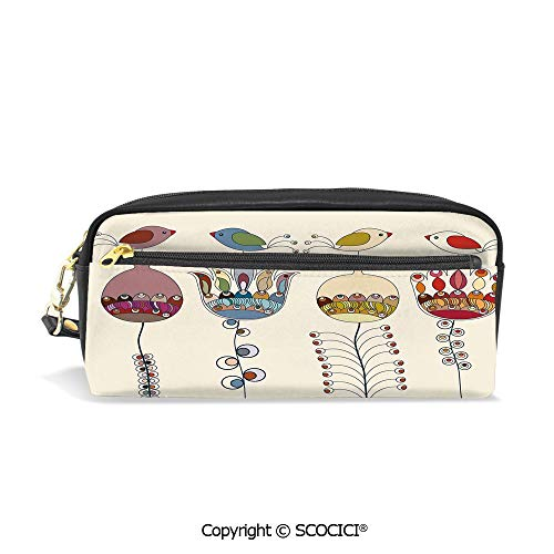 (Printed Pencil Case Large Capacity Pen Bag Makeup Bag Stylized Cartooned Cute Landscape with Flowers Birds and Abstract Forms Colorful for School Office Work College)