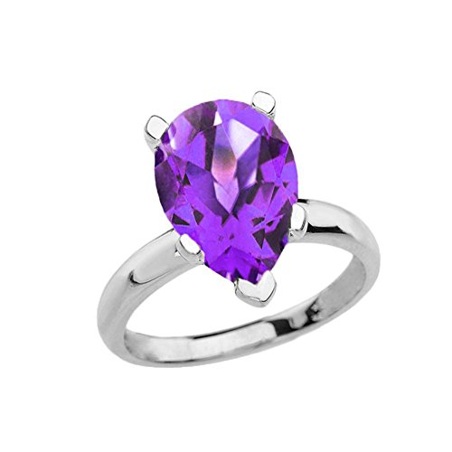 Elegant 14k White Gold Over 8 ct Pear Shape Amethyst Solitaire Ring (Size 6.25)