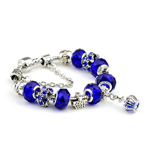 [BENNINGCO Fashion Silver Plated Snake Chain Crown Crystal Beads Charm Bracelet(Royal,17CM)] (Diy Pageant Girl Costume)
