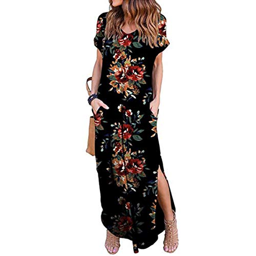 IMBOAZ Women's Casual Loose Long Dress Short Sleeve Floral Print Maxi Dresses with ()