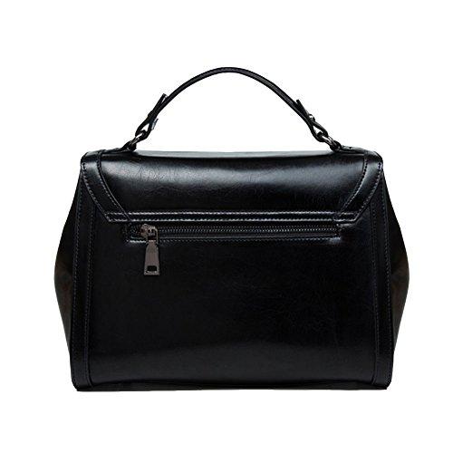 Messenger 28Cm 5Cm Tote 20 Summer Bag Bag 13Cm Leather Women's Black Shoulder CndS0fxqd