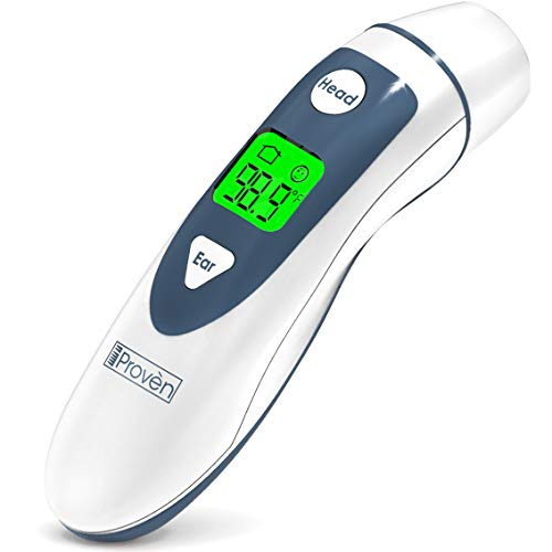 (iProven Medical Digital Ear Thermometer with Temporal Forehead Function - Clinically Approved Upgraded Infrared Lens Technology DMT-489 for Better Accuracy - New Medical Algorithm (White Grey))