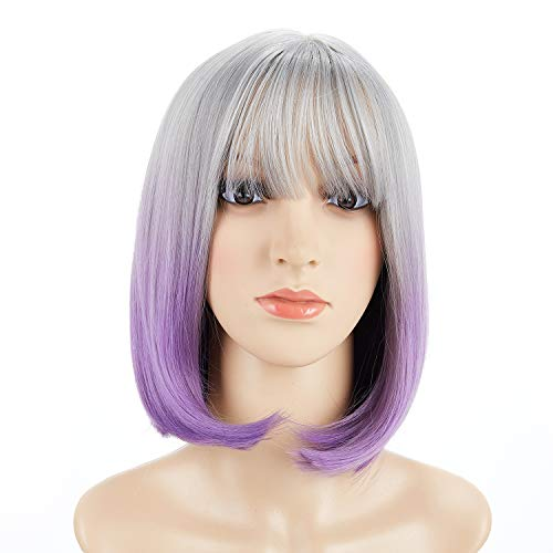 BeliHair Grey Purple Ombre Wigs with Flat Bang for Women Short BOB Straight Costumes Wig for Halloween Cosplay Party Synthetic Shoulder Length Wigs+ Free Wig Cap