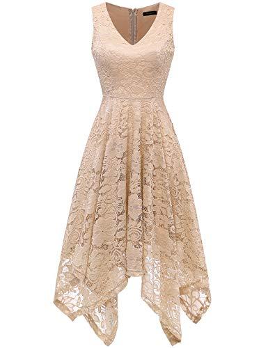 (MEETJEN Women's Vintage Floral Lace Dress Handkerchief Hem Asymmetrical Cocktail Formal Swing Dress Champagne)