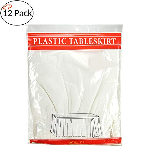 Plastic Table Skirt (Tigerchef White 12 Pack 14-inch x 29-inches Long Plastic Table Skirt, Table Skirts Fit Rectangle And Round Table)