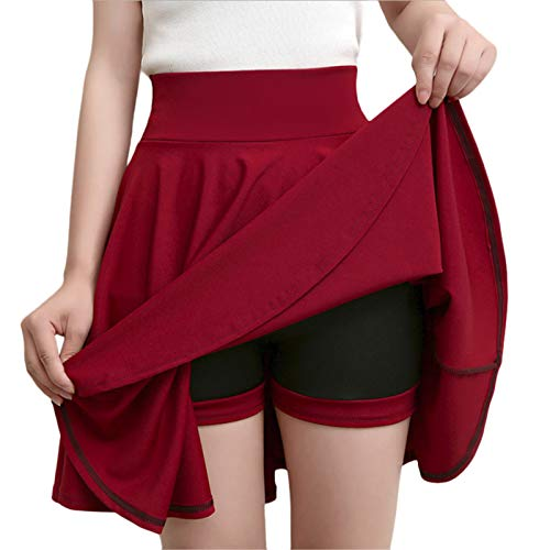 (Thenxin Women's High Waist Skater Skirt Mini Pleated A-Line Casual Skirt Built in Shorts Plus Size(Wine,XXL))
