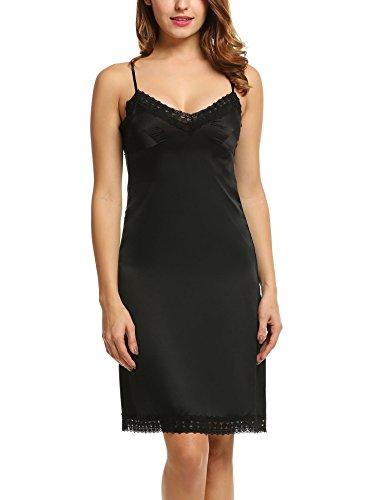 HOTOUCH Women V Neck Lace Babydoll Chemises Full Slip Dress (Black Nylon Full Slip)