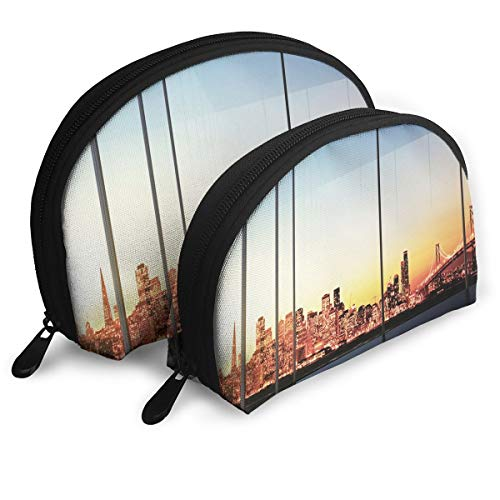 Shell Shape Makeup Bag Set Portable Purse Travel Cosmetic Pouch,Sunset In New York City USA Cityscape With Bridge Skyscrapers Image,Women Toiletry Clutch