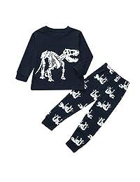 WOCACHI Toddler Boys Pajamas Set, Kids Long Sleeve Tops Pants 2pcs Sleepwear