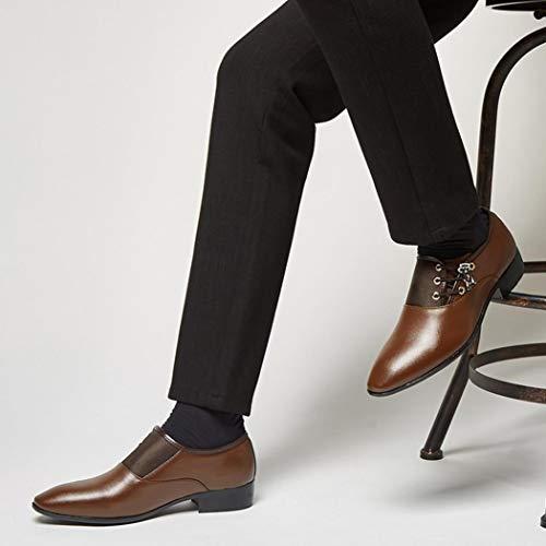Uomo morbide da Scarpe Pelle da Uomo Classica da Scarpe Traforata Sposa Uomo d'Affari da Scarpe Moderna Scarpe d'Affari Marrone Lacci in Scarpe Casual Coreano con Fibbia con Iqqp0