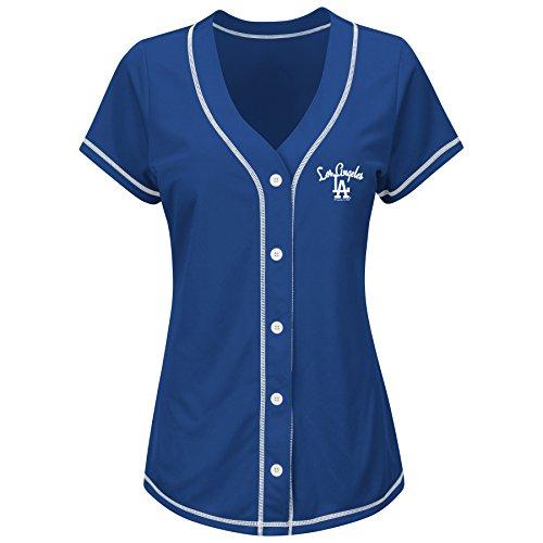 MLB Los Angeles Dodgers Women's T4L Fashion Tops, Royal/White, Small (Los Angeles Dodgers Fashion)