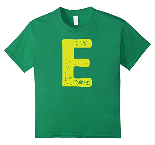 Kids Distorted Letter E First Name Easy Halloween Costume Shirt 8 Kelly Green