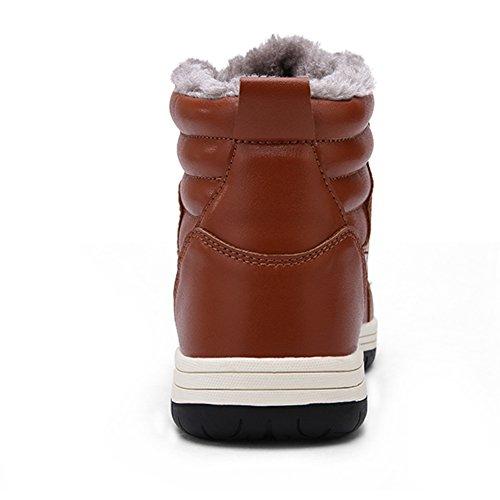 46 Taille Fourré Grand Chaussure 48 47 Montantes Homme Intérieur Chaud Hiver Wealsex Pu Basket Marron Cuir Sneakers X7OPOx
