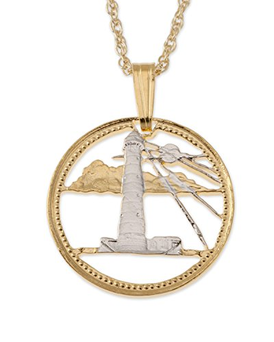 (Lighthouse Pendant & Necklace, Barbadoes Five Cents Hand Cut)