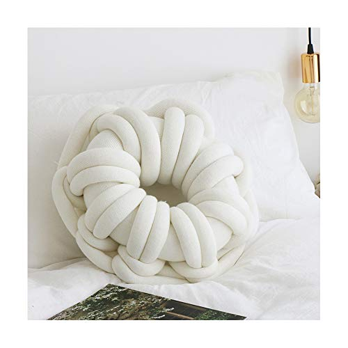 Warooms Handmade Knotted Pillow Bedroom Office Nap Pillow Ring Knot Pillows Sofa Back Cushion Car Cushions Home Decor Child Toys Donut Modeling,White ()