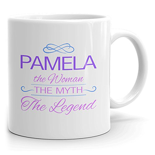 Pamela Coffee Mugs - The Woman The Myth The Legend - Best Gifts for Women - 11oz White Mug - Purple