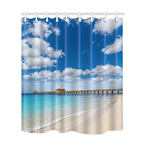 Franala Ocean Naples Pier and Beach in Florida USA Sunny Day Polyester Fabric Shower Curtain Sets with Hooks Creative Bathroom Shower ()