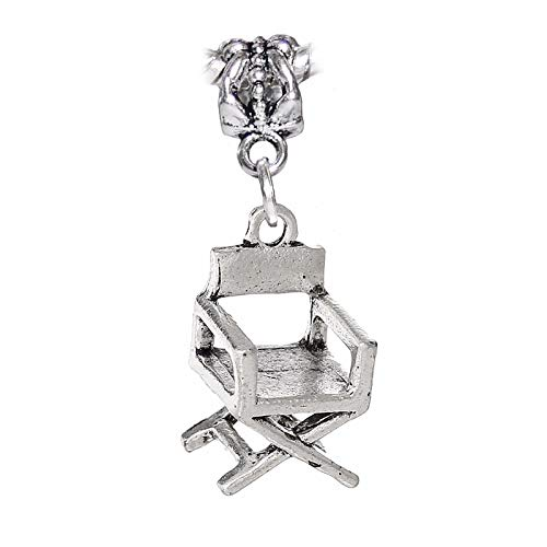 Jewelry Making Supplies Director's Chair Movies Acting Actor 3D Hollywood Dangle Charm for Euro Bracelet Make Personalized Necklaces Bracelets and Other Jewelry Directors Chair Dangle Bead