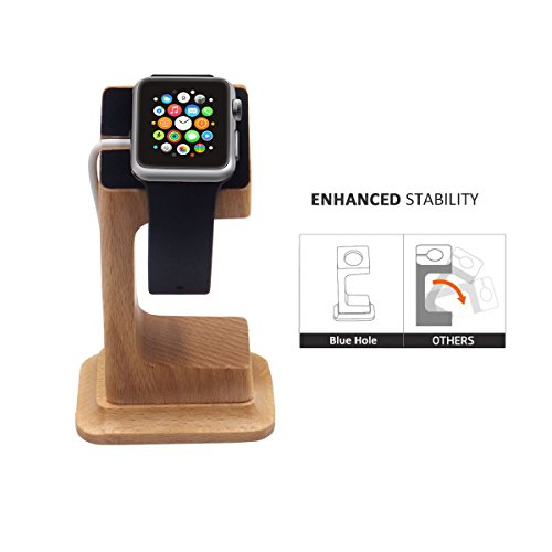 Apple Watch Dock, Blue Hole Stable Elevated Base Wood Apple Watch Charging Stand Dock Station, Support Apple Watch Series 3, Series 2, Series 1 (38 mm & 42 mm) by Blue Hole (Image #4)