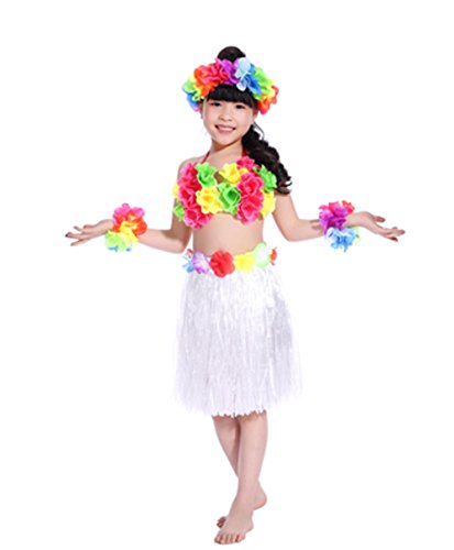 Hawaii Dance Costume (Hawaii Hula Children Clothing Ballet Suit Dance Performance Costume Dress Skirt Garland Full Sets (White))