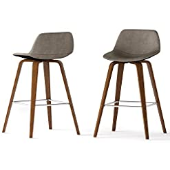 Kitchen SIMPLIHOME Randolph Mid Century Modern Bentwood Counter Height Stool (Set of 2) in Distressed Grey Faux Leather modern barstools